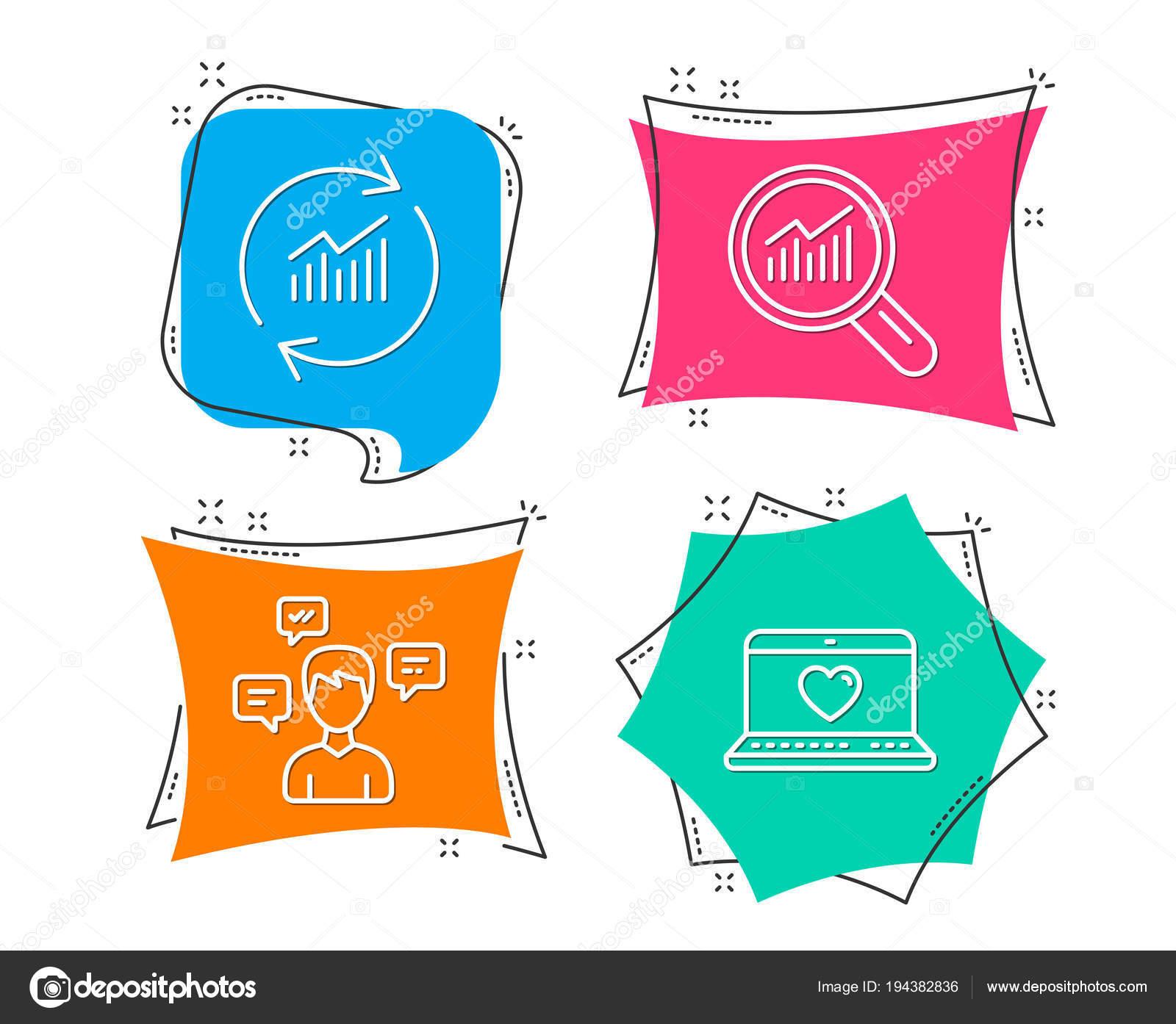 Unterhaltung Nachrichten, Datenanalyse und Update-Daten-Symbole. Web ...