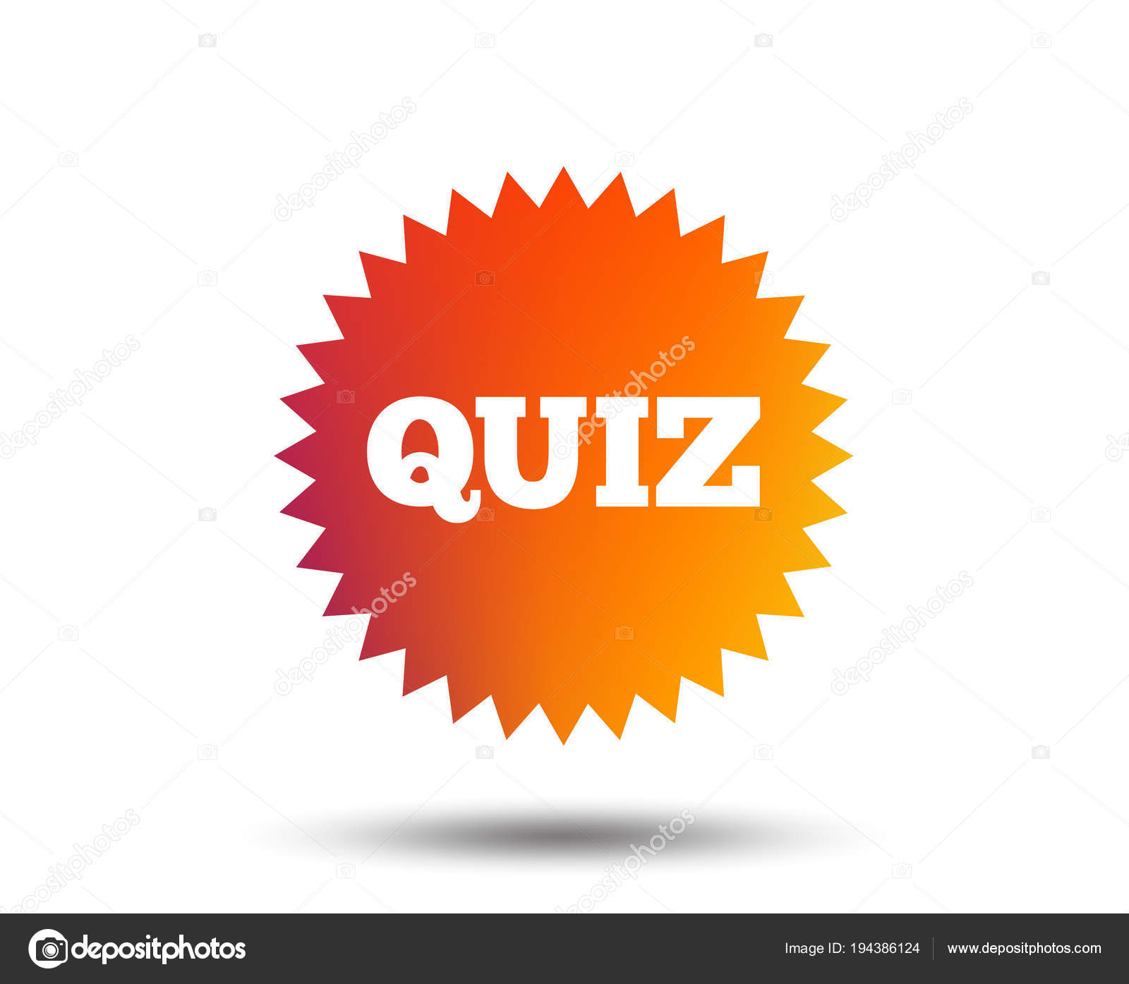 quiz star sign icon questions answers game symbol blurred gradient stock vector