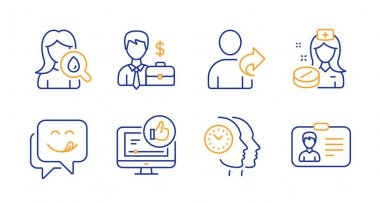 Like video, Refer friend and Moisturizing cream icons set. Nurse, Businessman case and Yummy smile signs. Vector