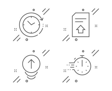 Upload file, Time change and Swipe up icons set. Cooking timer sign. Load document, Clock, Scrolling page. Vector