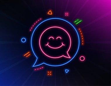 Smile face line icon. Happy emoticon chat sign. Speech bubble. Vector