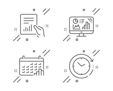 Calendar graph, Document and Analytics graph icons set. Time cha
