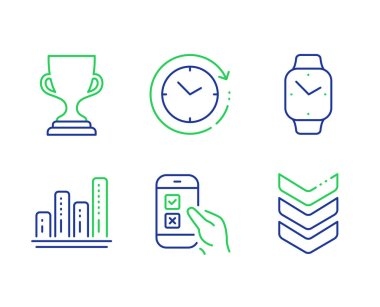 Mobile survey, Graph chart and Time change icons set. Smartwatch