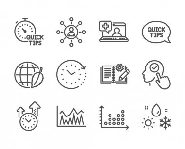 Set of Science icons, such as Weather, Time change, Engineering