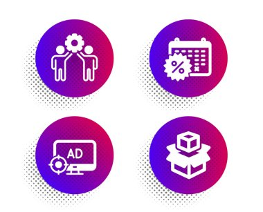 Seo adblock, Employees teamwork and Calendar discounts icons simple set. Halftone dots button. Packing boxes sign. Search engine, Collaboration, Shopping. Delivery package. Business set. Vector icon