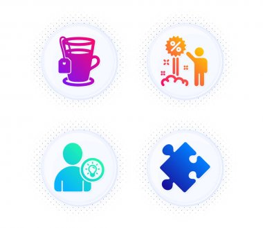 Tea, User idea and Discount icons simple set. Button with halftone dots. Strategy sign. Glass mug, Light bulb, Sale shopping. Puzzle. Business set. Gradient flat tea icon. Vector icon