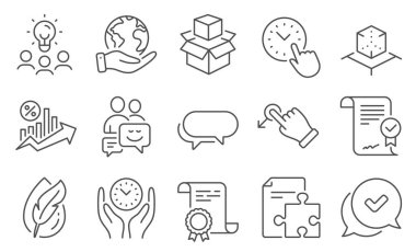 Set of Technology icons, such as Loan percent, Time management. Diploma, ideas, save planet. Hypoallergenic tested, Approved, Drag drop. Strategy, Augmented reality, Packing boxes. Vector icon