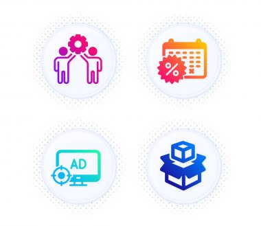 Seo adblock, Employees teamwork and Calendar discounts icons simple set. Button with halftone dots. Packing boxes sign. Search engine, Collaboration, Shopping. Delivery package. Business set. Vector icon