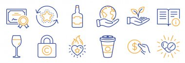 Set of Business icons, such as Medical drugs, Payment. Certificate, save planet. Wine glass, Takeaway coffee, Technical info. Heart flame, Loyalty points, Whiskey bottle. Vector