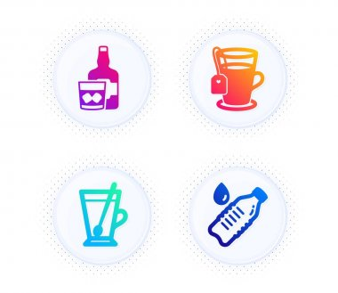 Tea mug, Tea and Whiskey glass icons simple set. Button with halftone dots. Water bottle sign. Cup with teaspoon, Glass mug, Scotch drink. Still drink. Food and drink set. Vector icon