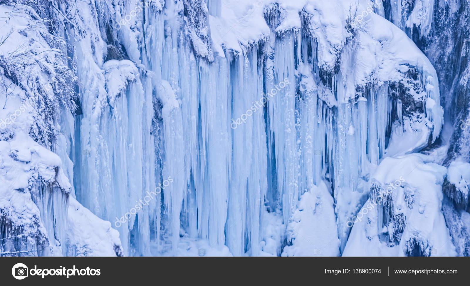 Plitvice Lakes Frozen Waterfall Stock Photo C Dbajurin