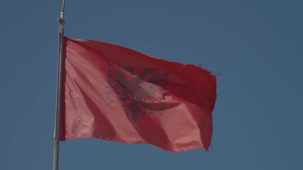 Albanian red flag flying in the wind