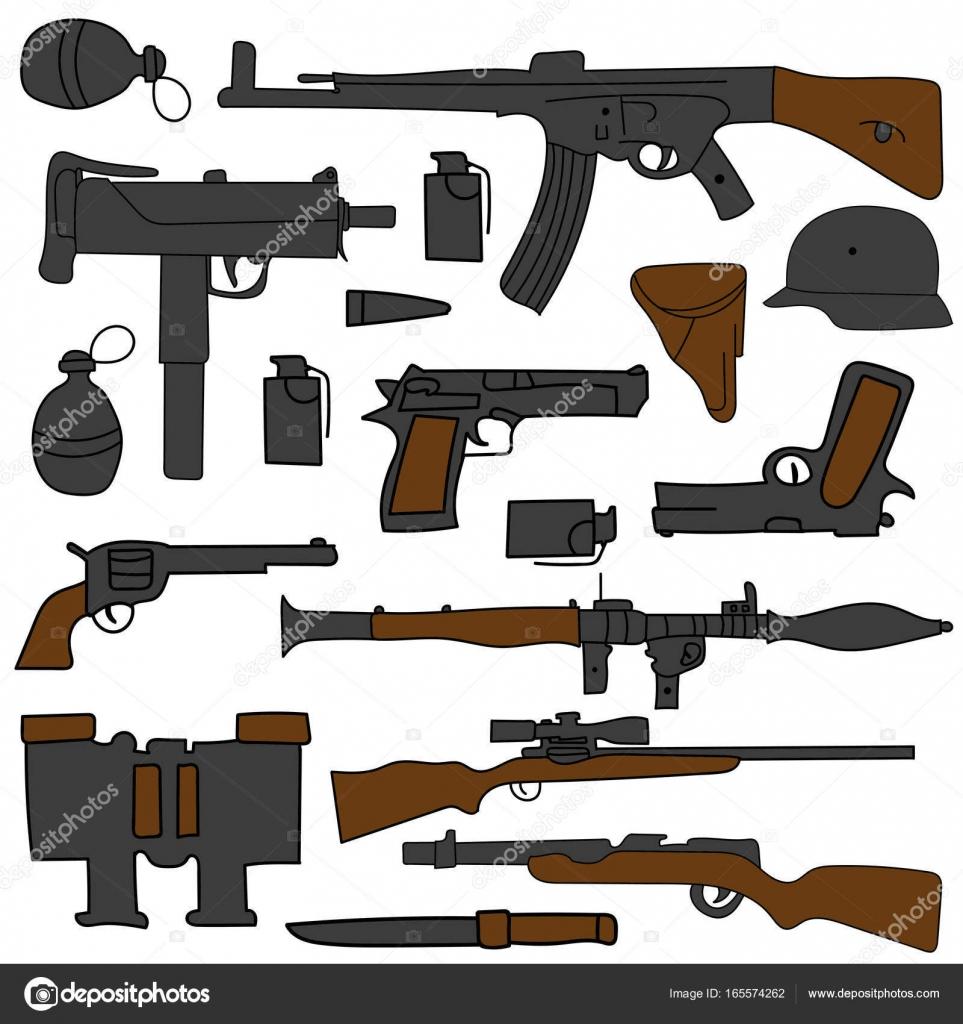 dibujo de la mano doodle conjunto de armas para su diseño