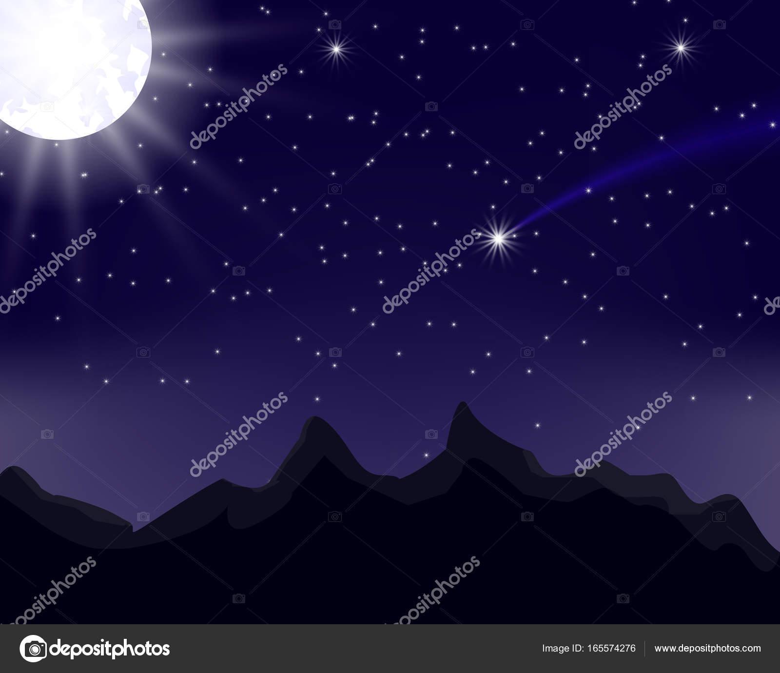 Cielo Stellato Di Notte Luna Le Montagne Per Il Vostro Disegno