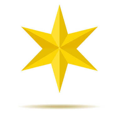 Star. Yellow. Ornaments. Six-pointed. For your design.