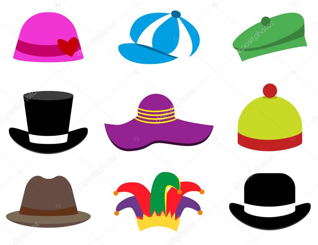 Sombreros. Una gorra. Sombrero. Conjunto. Estilo plano ...
