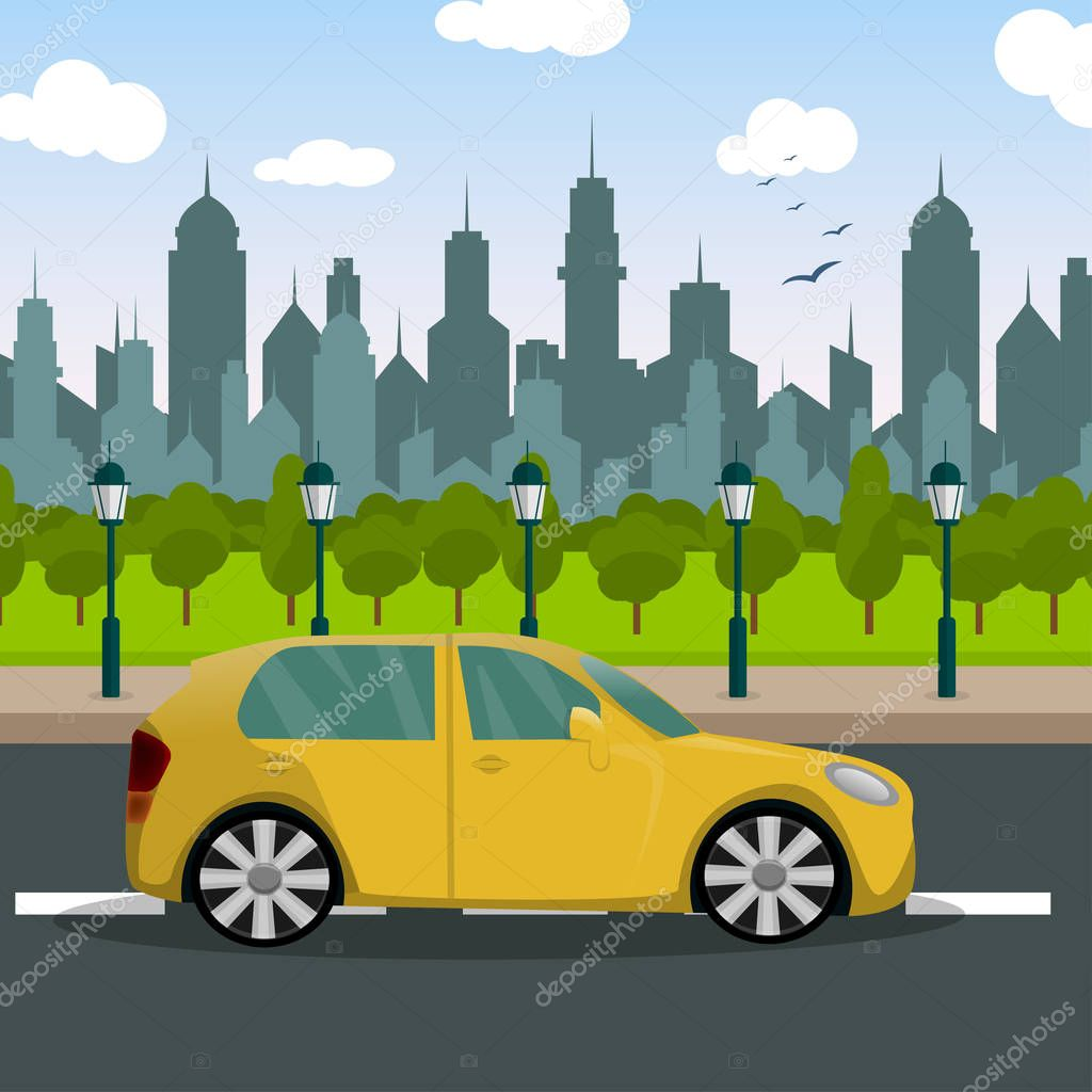 City landscape. Road. a pedestrian. A car. A cartoon. Traffic Laws. For your design.