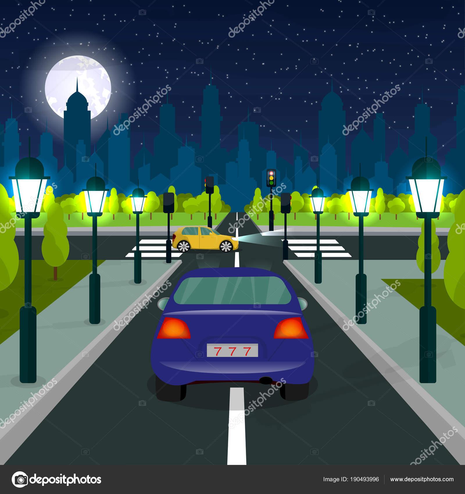Paisagem Da Cidade. Estrada. Um Pedestre. Um Carro. Um