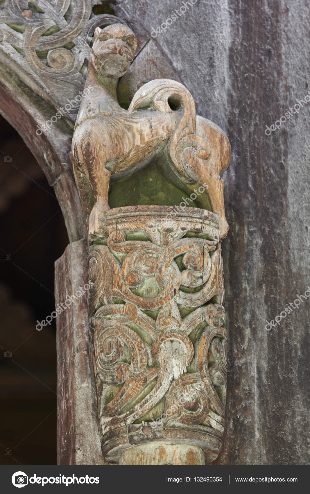 Norwegian ancient wooden carving nature forms borgund church