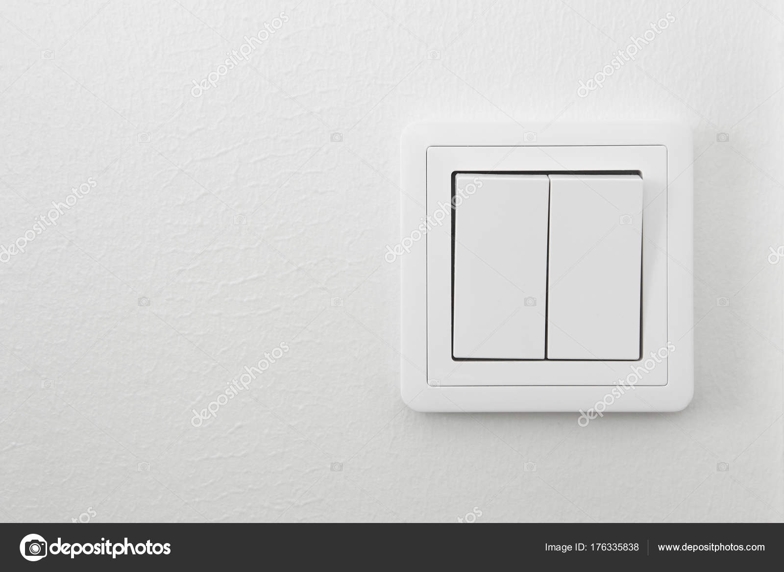 Light switch on a white textured wall. Home indoor — Stock Photo ...