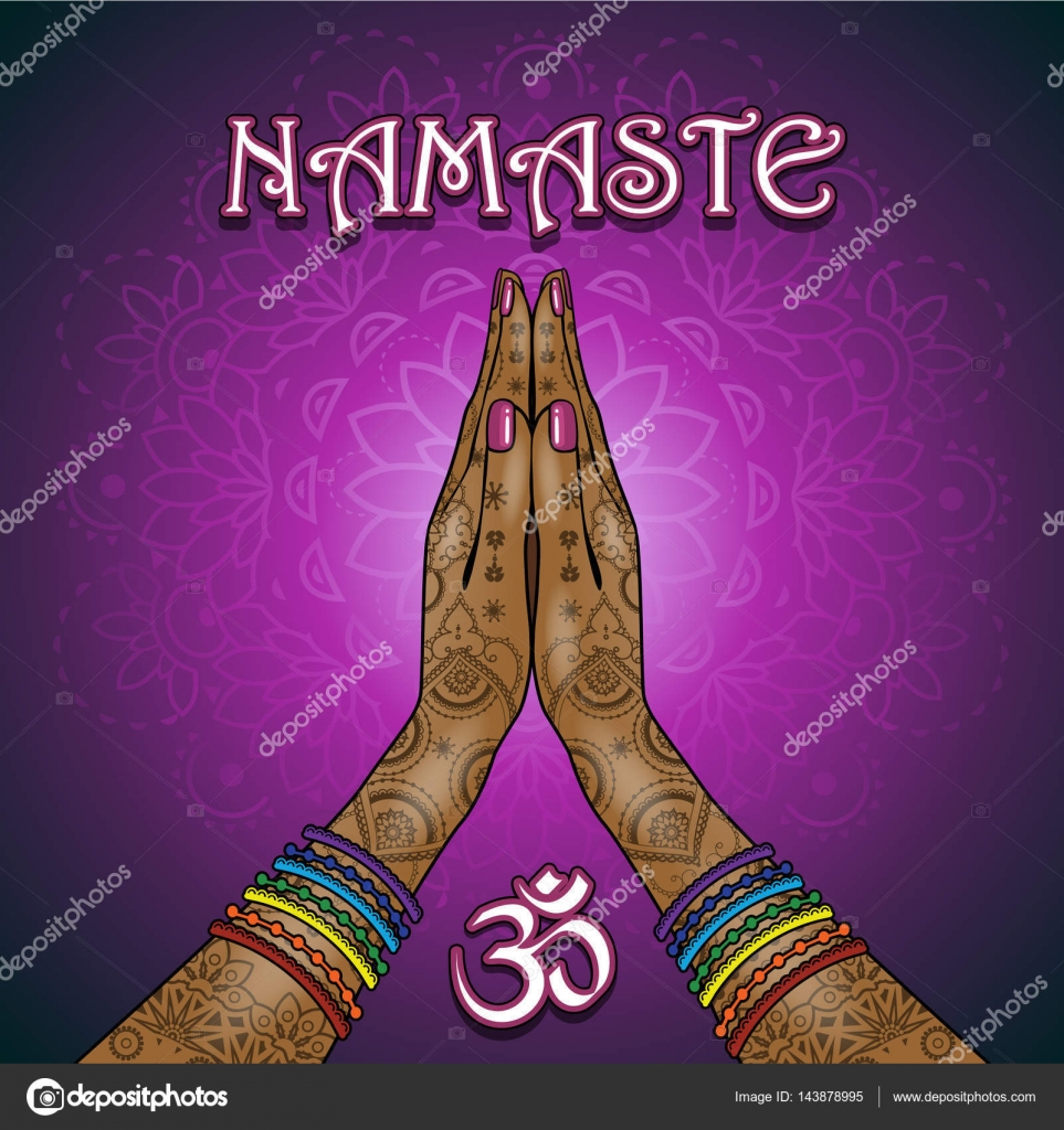 Namaste Om Yoga Stock Vector Iostephy 143878995