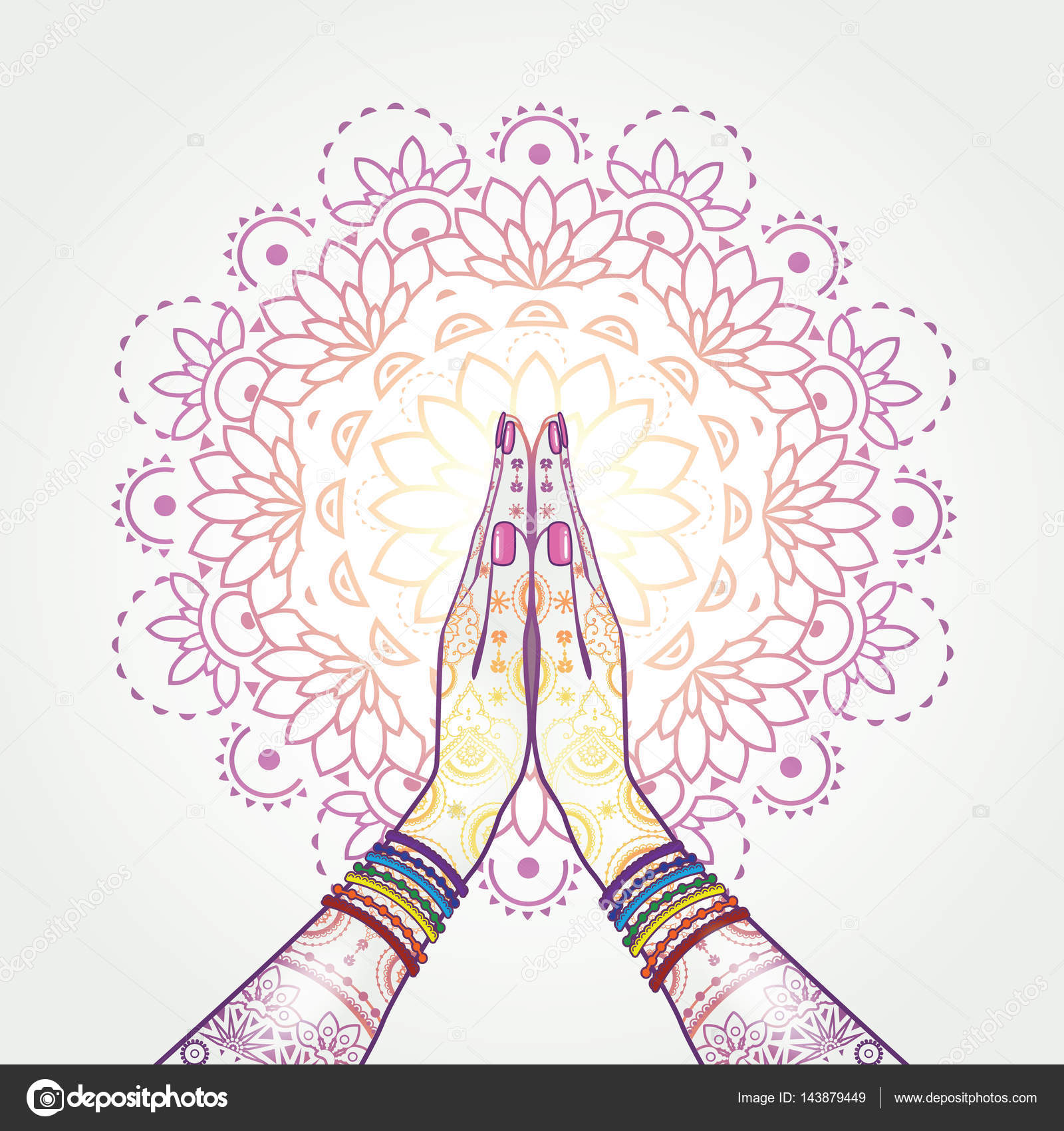 Namaste Decorated Yoga Stock Vector Iostephy 143879449
