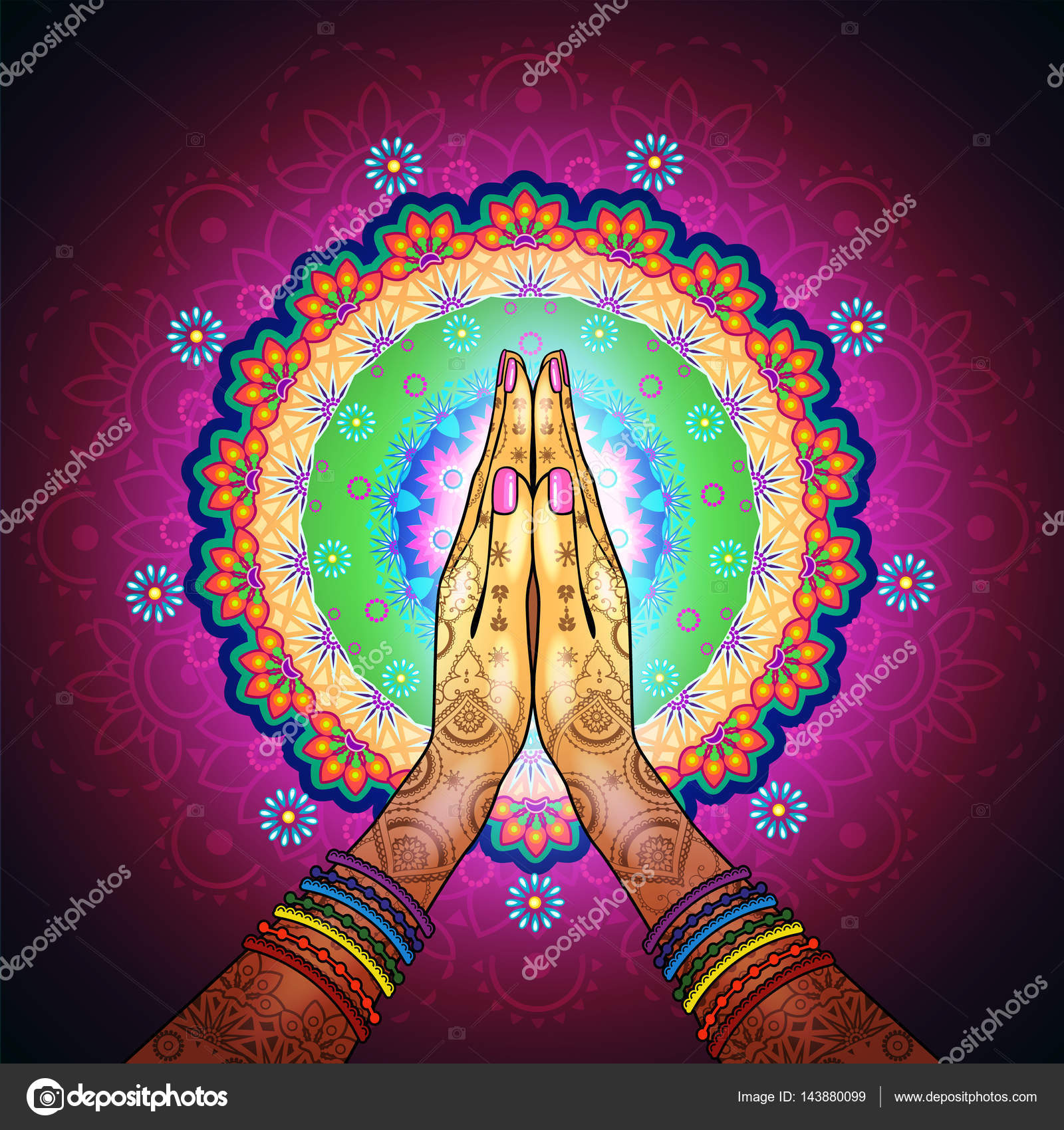 Namaste Mandala Yoga Stock Vector Iostephy 143880099