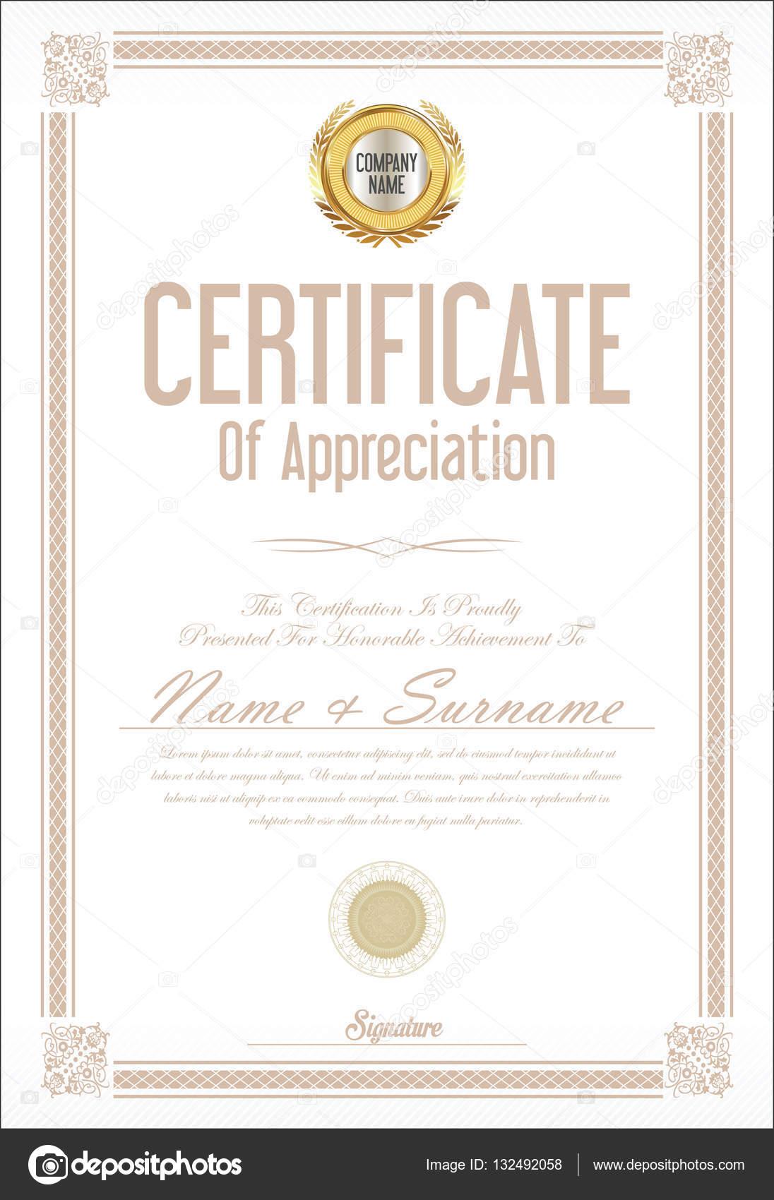 Zertifikat oder Diplom Vorlage Retro-design — Stockvektor ...