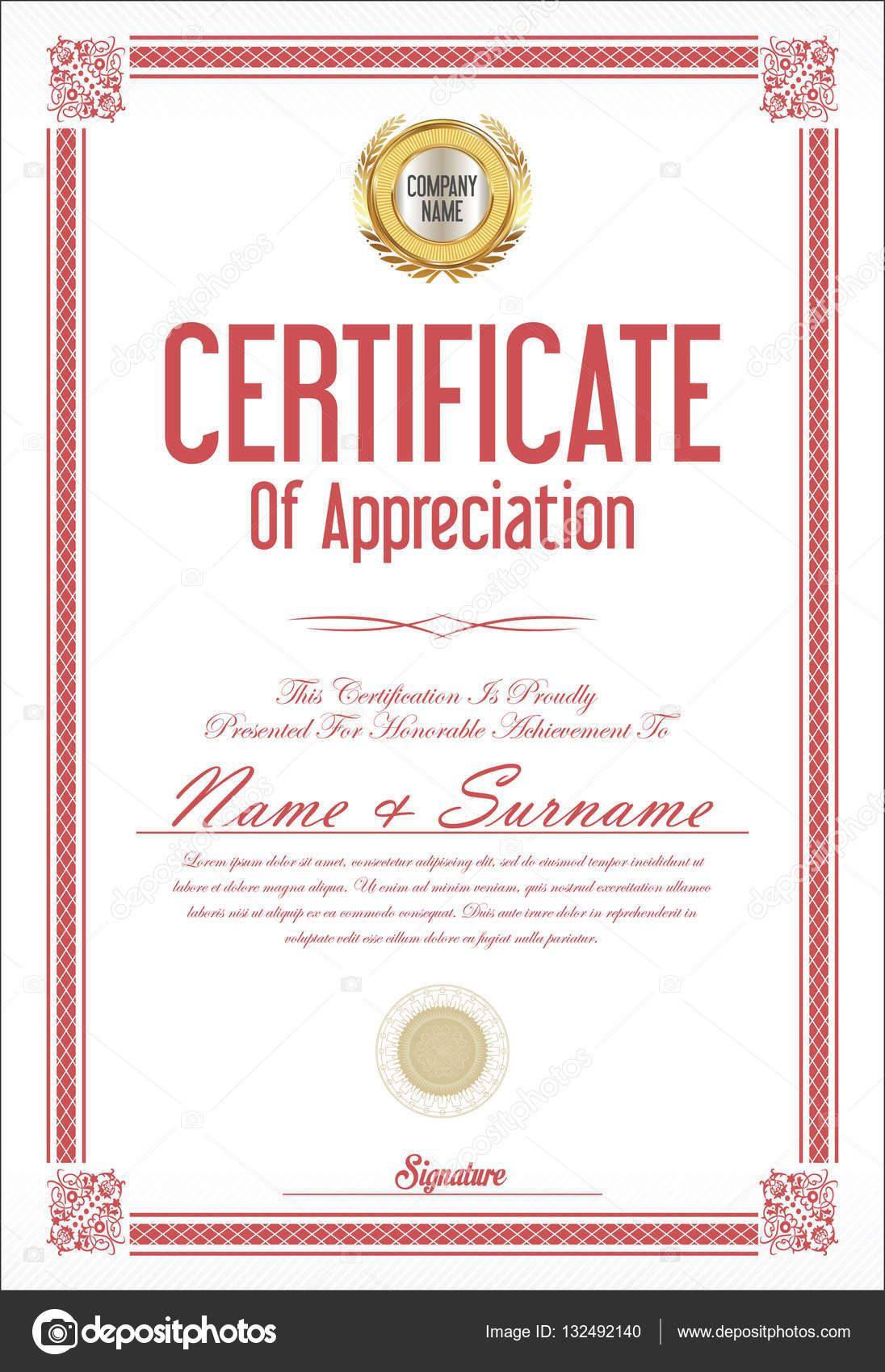 Certificate Or Diploma Template Retro Design Stock Vector