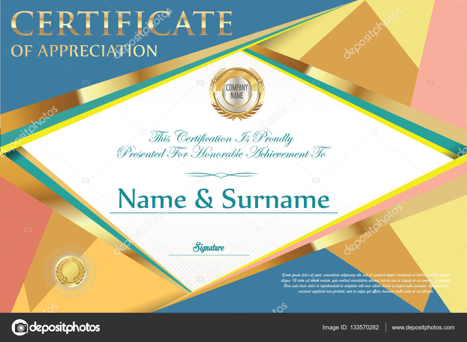 Certificate Retro Design Template Stock Vector Totallyout 133570282