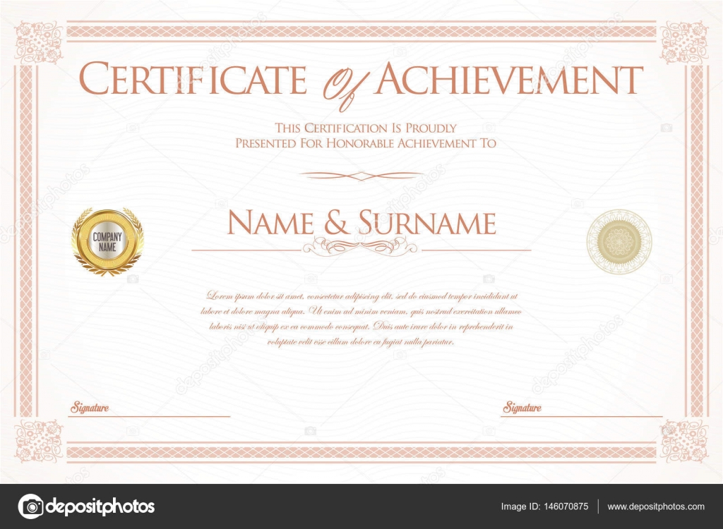 Certificate Of Achievement Or Diploma Template Stock Vector