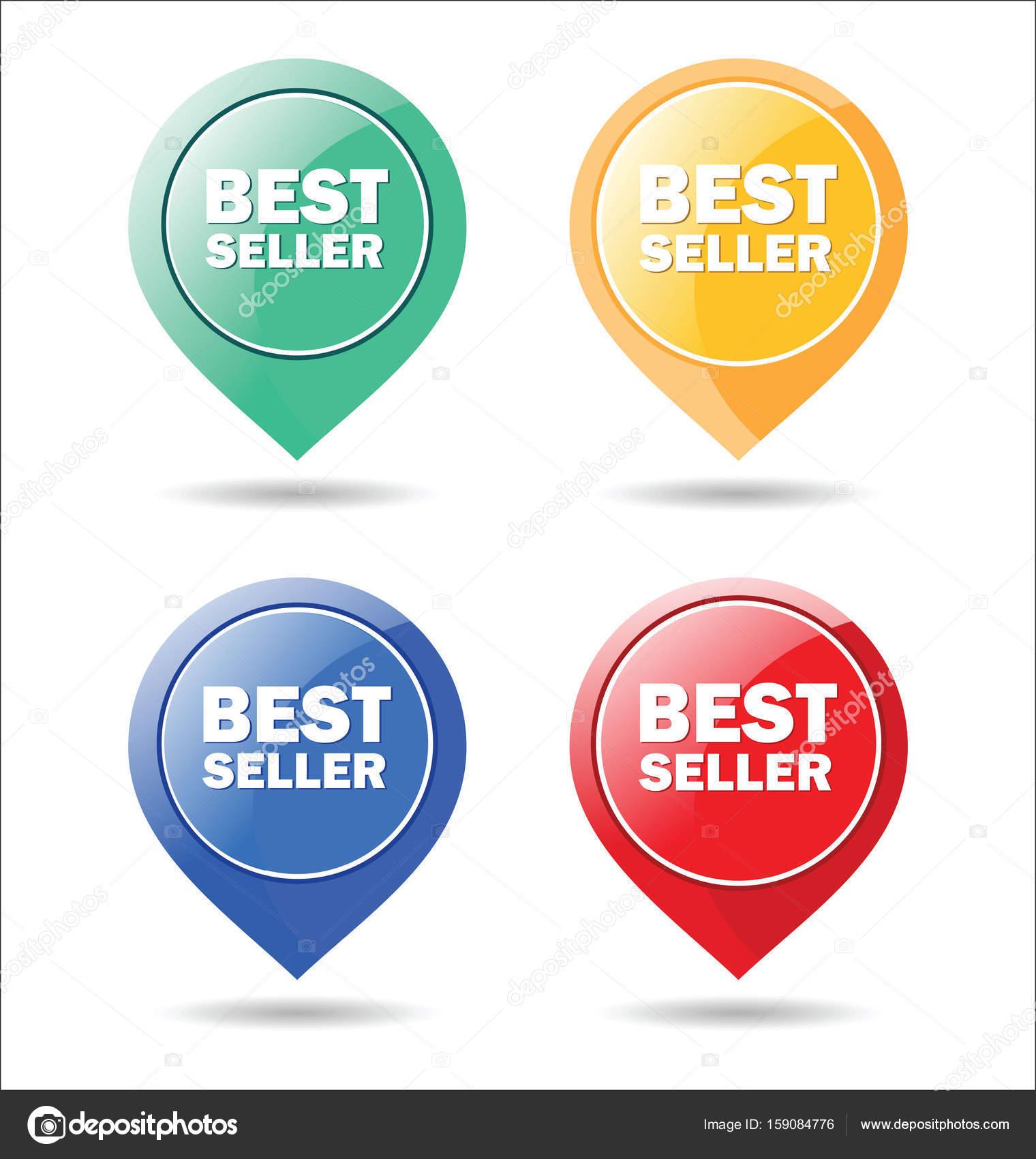 Aufkleber für beste Verkäufer bunte modernes design — Stockvektor ...