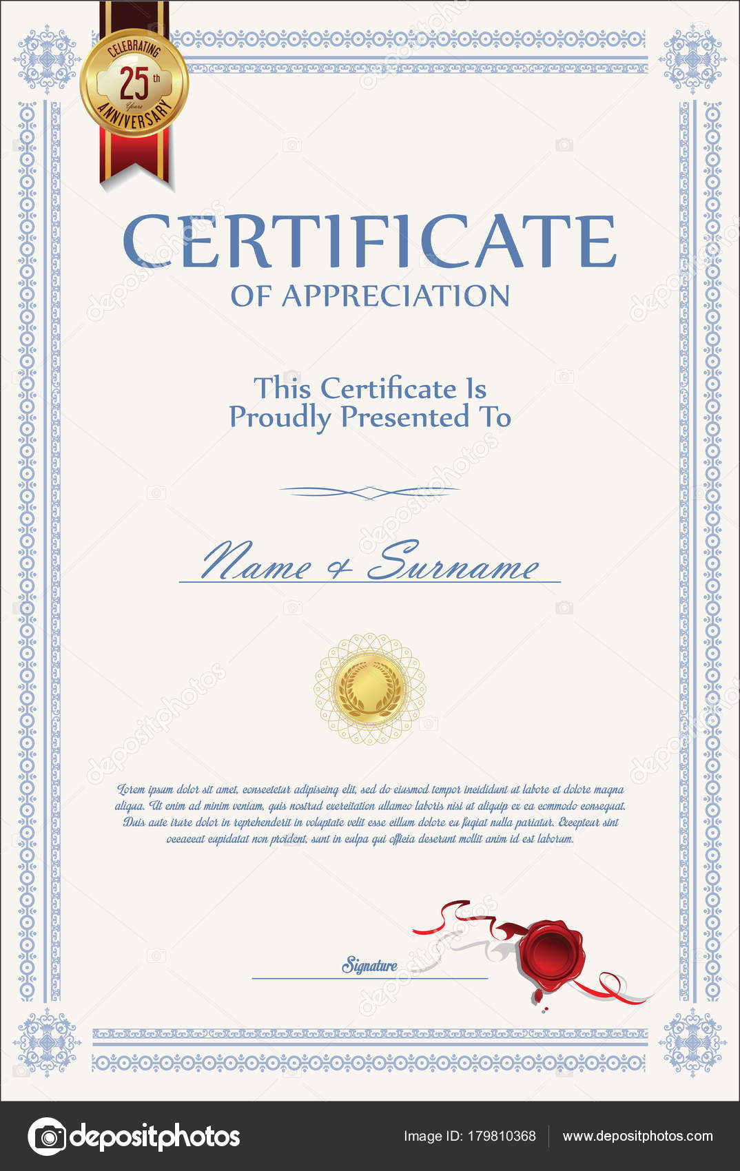 Retro Vintage Certificate Diploma Vector Template Stock Vector