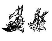 Photo Warrior. Head of barbarian. Profile of warrior