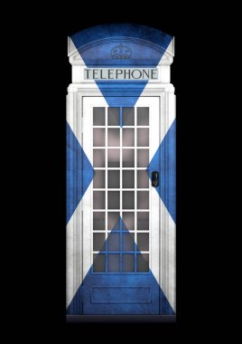 British Phone Booth K2 from 1924 - 3D Rendering - isolated - Scotland