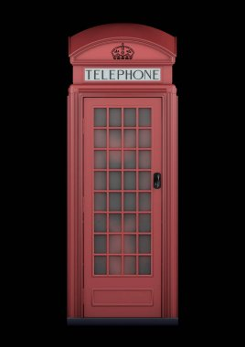 British Phone Booth K2 from 1924 - 3D Rendering - isolated - original red