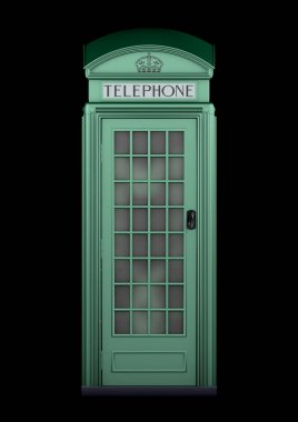British Phone Booth K2 from 1924 - 3D Rendering - isolated - racing green