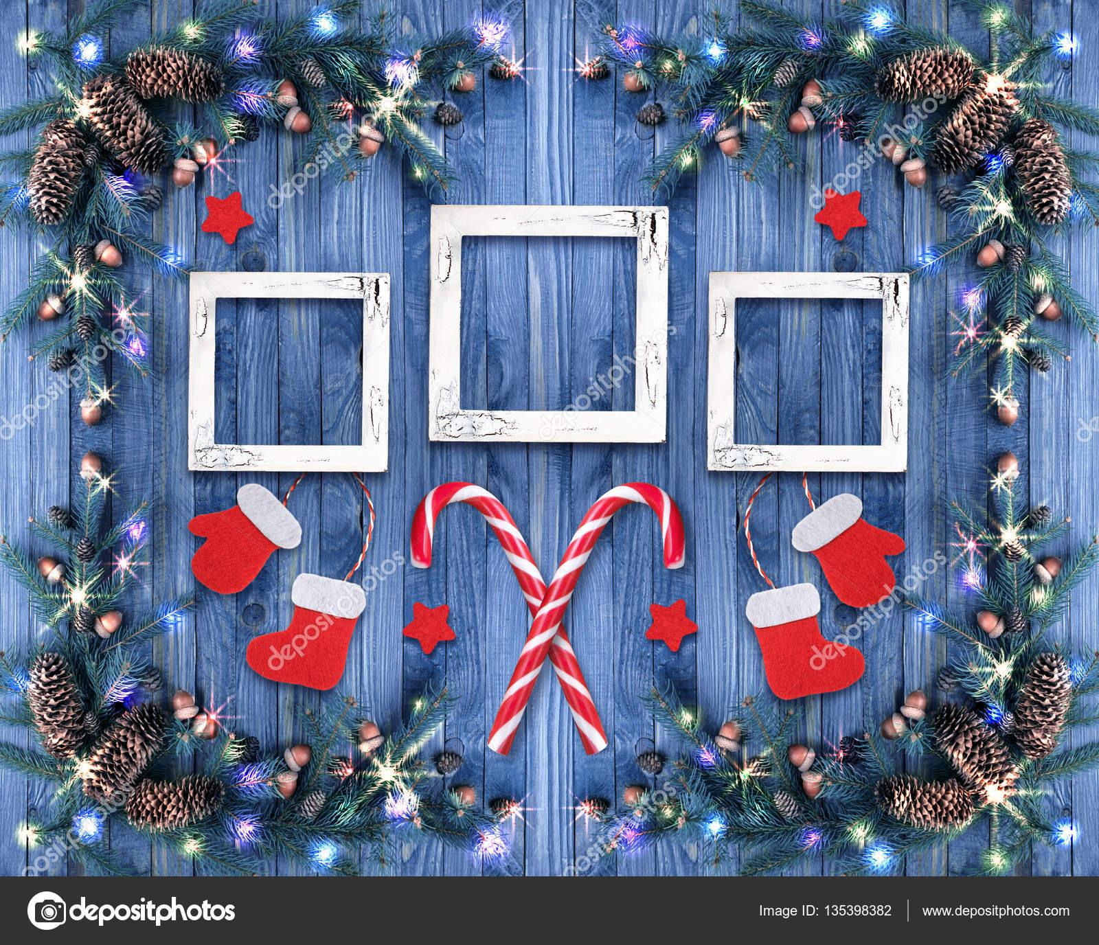 Weihnachten Fotorahmen.Weihnachten Hintergrund Mit Fotorahmen Stockfoto Julia Arda