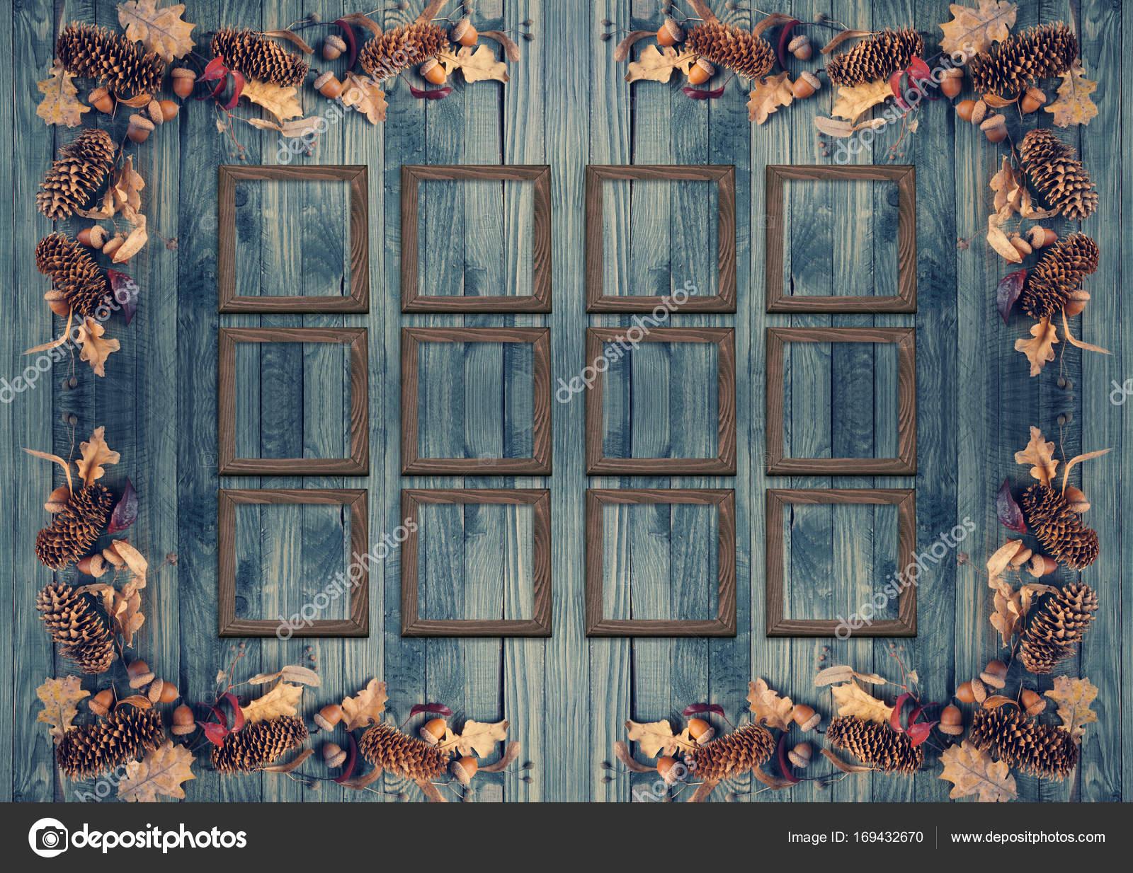 Otoño de fondo con Marcos decorados en estilo rústico — Fotos de ...