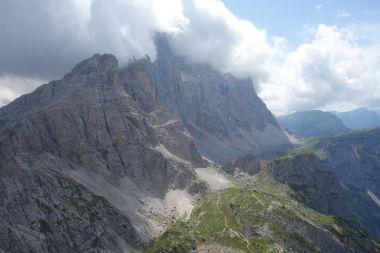 Civetta peak cover by clouds