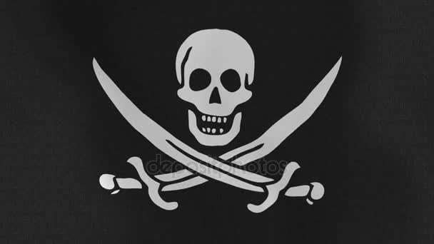Loopable: Pirate Flag Waving in Wind