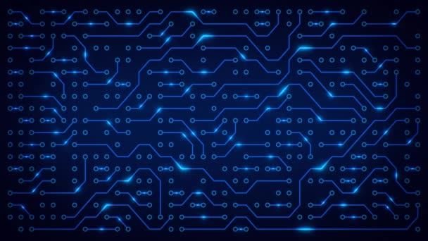 Abstract electronic blue circuit board background. Artificial intelligence. Future technology. 4K seamless loop. Circuit Board with moving electrons. Futuristic HUD