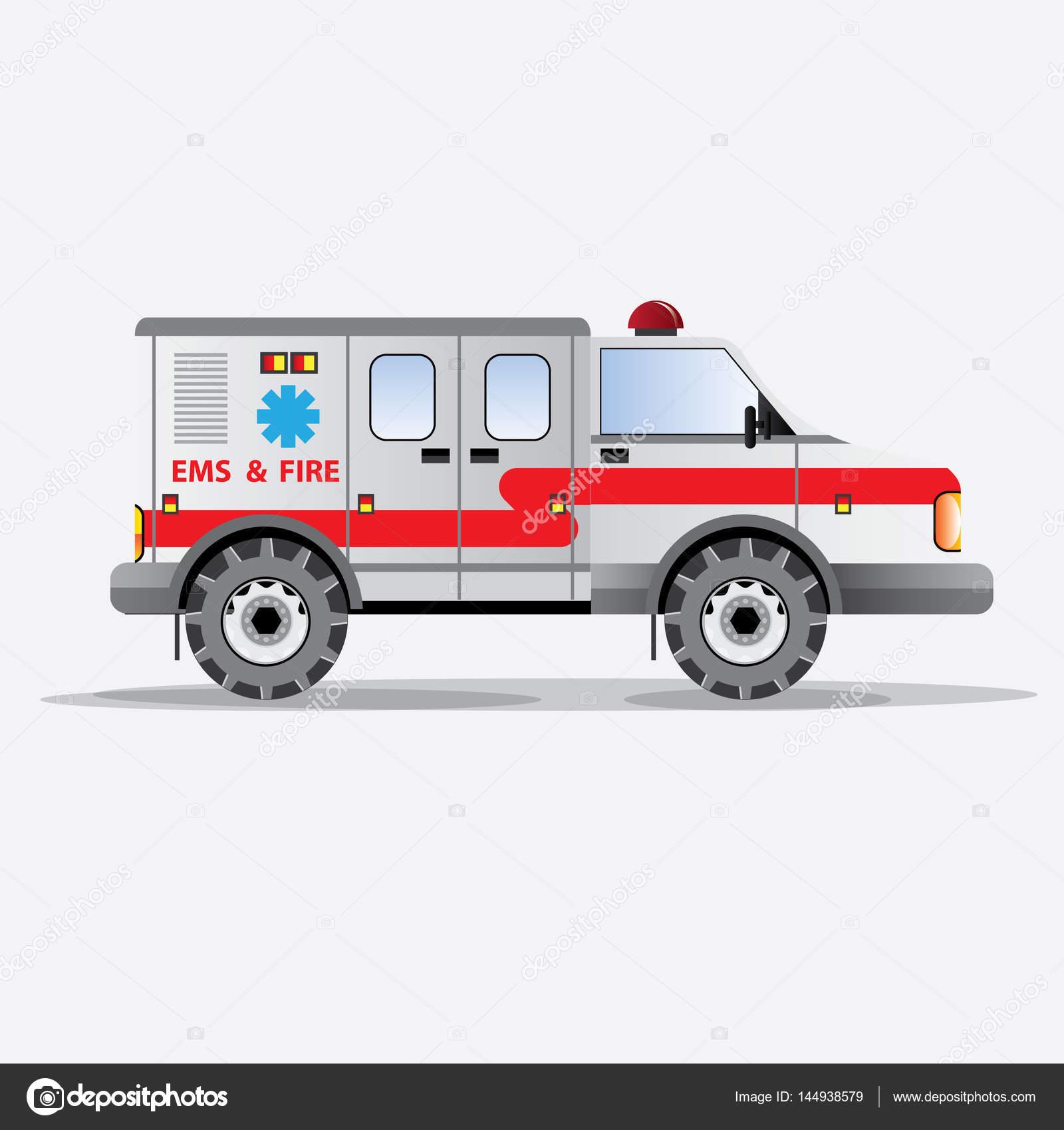 Itfaiye Arabası Ems Ve Sembolleri Yangın Vektör çizim Stok