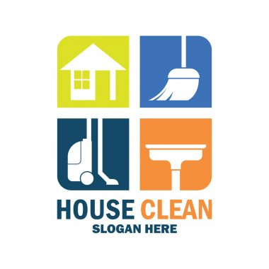 cleaning service icon with text space for your slogan / tagline, vector illustration