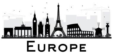 Europe Skyline Silhouette with Landmarks.