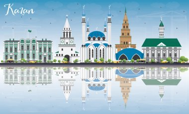 Kazan Skyline with Gray Buildings, Blue Sky and Reflections.