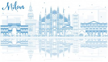Outline Milan Skyline with Blue Landmarks and Reflections.