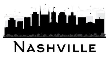 Nashville City skyline black and white silhouette.
