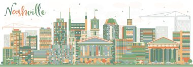 Abstract Nashville Skyline with Color Buildings.