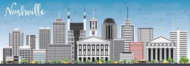 Nashville Skyline with Gray Buildings and Blue Sky.
